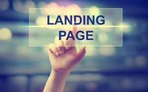 Hand pressing Landing Page on blurred cityscape background