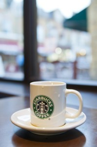 Starbucks cup of coffee in coffeehouse